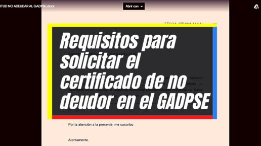 Cómo generar el certificado de no adeudar al GADPSE