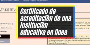 Certificado de acreditación de una institución educativa