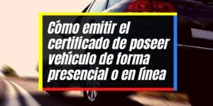 Emisión del certificado de poseer vehículo en línea