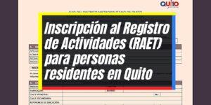 Cómo inscribirse al RAET para personas en Quito